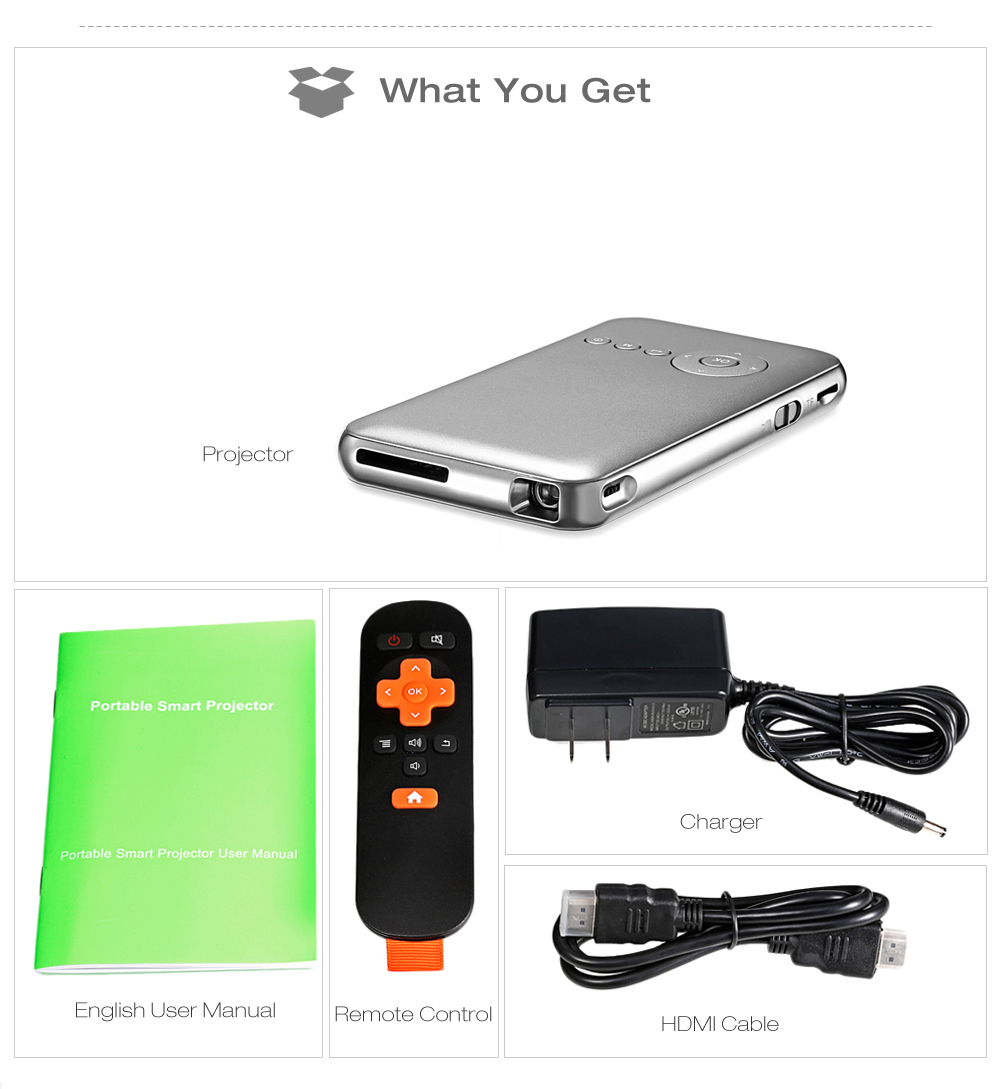 D02 DLP Mini Projector 8GB 50ANSI Android 4.4 Bluetooth 4.0 2.4G / 5G WiFi Airplay HD Media Player