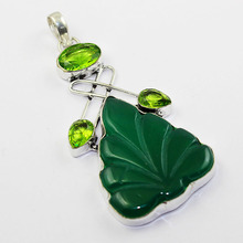 Green Carved Leaf Pendant Silver Overlay over Copper 80mm, P1437(China)