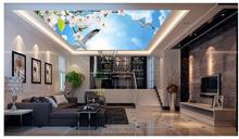 3d ceiling murals wallpaper Sky clouds tree leaves peach butterfly pigeons ceiling murals wallpaper 3d ceiling(China)