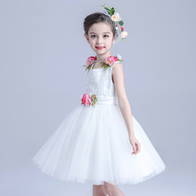 Formal Party Girls's Dresses Children Mini Yellow Princess Sash Flower Girl Vestidos Kids Clothes for 10 Years Old AKF164024(China)