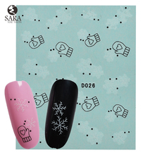 Nail Salon 1PCS Snowflakes Christmas Style Water Nail Art Sticker Tips Decals Manicure DIY X'mas Stickers SANJ185(China)