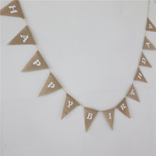 garland happy birthday pennant natural jute burlap hessian vintage banner wedding home party decorate bunting supplies 13pcs/set
