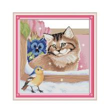 Joy Sunday Bird and cat handmade needlework cross stitch kit DIY home sewing ornaments art painting(China)