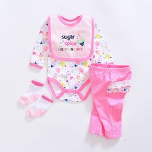 2017 baby girl Clothing Sets cotton Fashion cartoon baby clothes Newborn suits 4pcs long sleeve infant rompers+pants+socks+Bib
