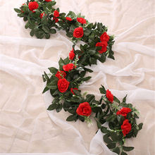 For Home Wedding Decoration Fake Silk Roses Ivy Vine Artificial Flowers with Green Leaves Hanging Garland Decor(China)