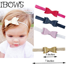 "1Pc Sweet 3"" Newborn Leather Headbands Boutique Hair Bow With Hair Bands For Girls Kid Headwrap Hair Accessories"
