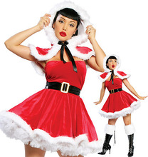 Lady New Sexy Little Red Christmas Dress Santa Claus Cosplay Skirts Christmas Xmas Fancy Dress Outfits Cosplay Costume B-3867