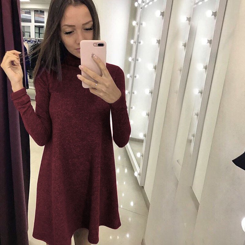 High Neck New Autumn Women Casual Dress 2017 Winter Long Sleeve A-Line Dress Female Fashion Black Wine Red Loose Dresses D255