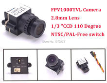 Mini 1000TVL 1/3 CCD 110 Degree 2.8mm Lens FPV Camera NTSC PAL Switchable For FPV Camera Drone Quadcopter High Resolution(China)