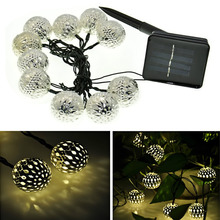 Solar Power Hollow Ball Fairy String Lights 10 LED Peach Blossom Decorative Garden Lawn Patio Christmas Trees Wedding Party