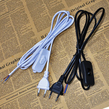 1.8m Switch on line Cable On Off Power Cord For LED Lamp with Push Button Switch Europe Plug Light Switching Wire Extension