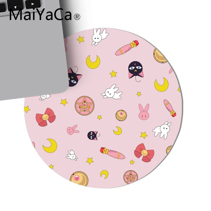 MaiYaCa cute Sailor Moon cat pattern Comfort Round Mouse Mat Gaming Mousepad Computer Laptop Mouse Pad Table Mat anime mousepad