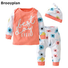 3 Pcs/Set 2017 Hot Sale Newborn Baby Girls Clothes Lovely Flowers and Letter Long sleeves T-shirt+Pants+Hat Infant Clothing Set