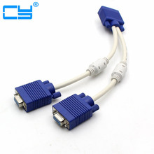 RGB VGA SVGA Male to 2 VGA two HDB15 Female Splitter Adapter extension Cable w/ core VGA splitter adaptor connector converter(China)
