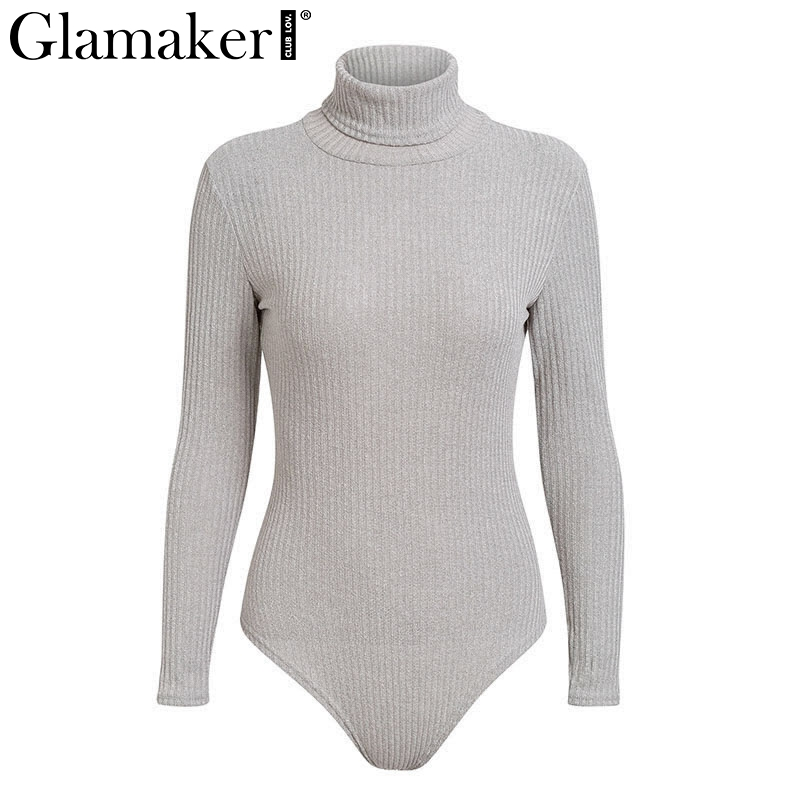 Knitted Turtleneck Sexy Bodysuit, Women's Long Sleeve Casual Bodycon Bodysuit 11