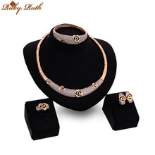 jewelry sets plated Gold Color  crystal  bridal africannecklace earing fashion wedding jewellery  rose sieraden women set