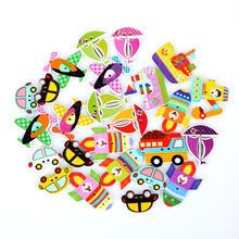 Hot 70pcs 2 Holes Random Mixed Decorative Wooden Button Lovely Conveyance for Sewing ScrapbookingDIY Craft Making(China)
