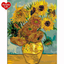 Van Gogh Sunflowers Coloring Painting by Numbers Flower Wall Art Pictures Diy Oil Paintings Decorative Canvas Home Decoration