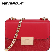 NeverOut 5 Color Bag Split Leather Shoulder Bags Sac Brand Name Design Women Messenger Bags Flash Powder Lady Crossbody Bag(China)