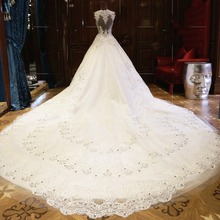 Royal Luxury Sexy Monarch Lace Ball Gown High Collar Wedding Dresses 2017 with Rhinestone Beads Long Church Bridal Gowns XW62