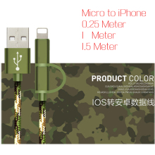 2in1 Micro USB Cable For iphone 7/6/6s/5s/ipad Camouflage USB Type-C Cable For Nexus 5x 6p/meizu pro6 5/xiaomi mi5 mi4C tablet