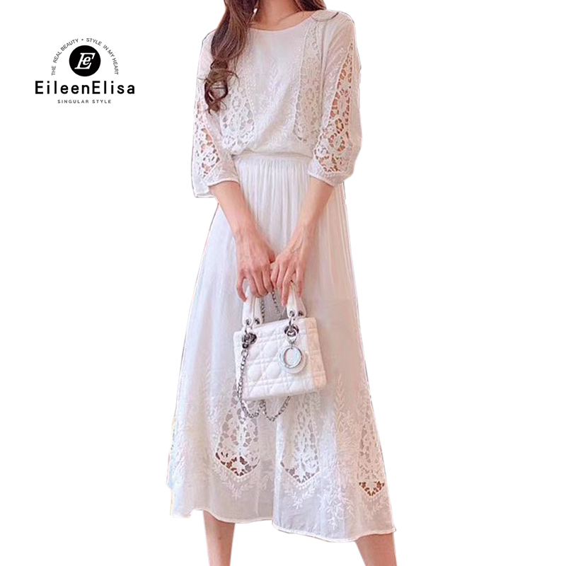 Women Dresses Elegant White Lace Long Dress 2019 Spring Summer Half Sleeve Ladies Dresses Vestidos