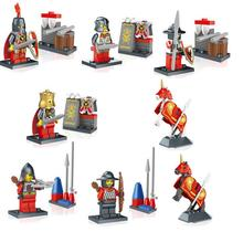 8Pcs/lot Medieval king Knights Figures with War Horse Building Blocks Toys for Children Compatible with Lepin bricks