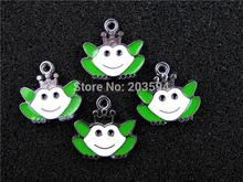 AE309 Mix Color 20Pcs Alloy Metal Enamel Frog Prince Charms Pendants 20x19mm