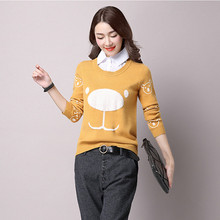 2016 Cartoon Printed Pullover Women Sweater Long Sleeve Ladies Christmas Sweater Female Winter Knitwear Pull Femme Knitted Tops