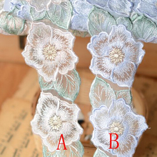 Hot Sale 5 Meters 7cm Elegant Embroidery Lace Applique Trim Embroidery Ornament Couture Designs