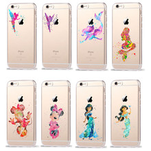Watercolor Minnie Princess TinkerBell Transparent Plastic Cover Case For iPhone 7 7 Plus 6 6S Plus 5 5S SE Case Coque Fundas