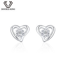 DOUBLE-R Heart 0.025ct Diamond Earrings Women 925 Sterling Silver Stud Earrings Romantic Valentine'S Day Gift Diamond-Jewelry(China)