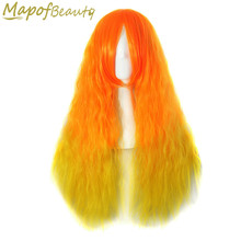 "Long Kinky Curly Synthetic Hair 28"" 7 Multicolor Orange Brown Red Ombre Cosplay Wigs Heat Resistant Halloween Female MapofBeauty(China)"