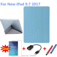 Case for iPad 9.7 inch 2017,  PU Leather+Ultra Slim Light Weight PC Back clear Cover Case for iPad 9.7 2017 New model+gifts