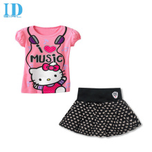IDGIRL Kids Clothes New Children's Clothing Hello Kitty Lovely Peach Heart Skirt Suits Spot Girls Clothing Set  BD004