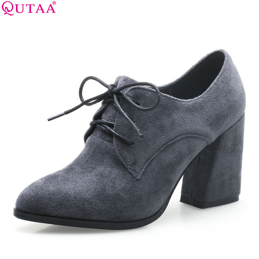 QUTAA 2018 Women Pumps Cow Suede Fashion Pointed Toe Square High Heel Women Shoes Platform Lace Up Casual Shoes Size 34-43<br>