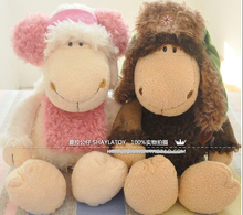 candice guo! super cute NICI plush toy stuffed doll couple lei feng sheep headset lamb lover birthday gift 35cm 1pc