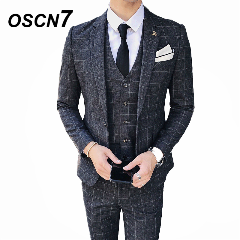 OSCN7 Casual Business Chcek 3 Piece Suit Men 2019 Wedding Dress Plaid Suits for Men Party Gentleman W8036 Three Piece