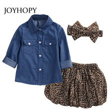 3pcs/Set Leopard Hair Band+1pc Denim Shirts+1pc Skirt Children's Clothing Set Kids Suits Baby Girls Clothes