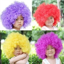 Children's explosion curly hair Explosion head party supplies multi-color short wig Halloween cosplay party Event&Party Supplies