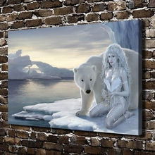 C_X90 Sexy Girl Naked Bear Animal FIgures Scenery.HD Canvas Print Home decoration Living Room bedroom Wall pictures Art painting