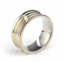 Tiger Totem free shipping quality Individuality Fashion Concave between gold stripes ring Titanium steel sell well accessories(China)