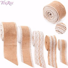 FENGRISE 5 M Vintage Natural Jute Burlap Hessian Lace Ribbon Sisal Rustic Wedding Event Party Table Runner Decoration Gift Wrap(China)