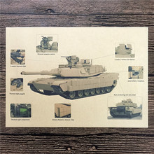 "Hot sale RMK-063 retro kraft paper ""German tanks Features"" wall stickers home decor living room poster sticker for kids 42x30 cm"