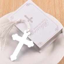 24pcs Home Party Creative Favor Bible Cross Metal tassels bookmark with For Graduation Christening birthday Wedding Favour