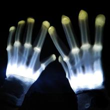 Pair of LED Lighting Gloves Flashing Fingers Rave Gloves Colorful Gloves for Light Show (White)