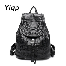 New 2016 High-grade Leather Backpacks Designer Washed Leather Bag Backpack Retro Korean Backpack Shoulder Bag for Girls mochila