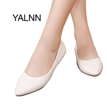 YALNN New Women Shoes Flats Pointed Toe Leather Girl Shoes Leather Platform Heels Shoes White Women