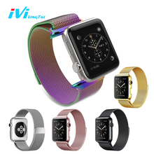 IVI For Apple Watch Strap Band Cover Series 1 2 38mm 42mm Sport Edition Milan Metal Stainless Steel Magnetic Rainbow Colorful(China)
