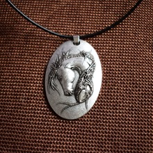Long hair Horse Jewelry necklace mens necklace.mens jewelry horse pendant 1pcs SanLan(China)